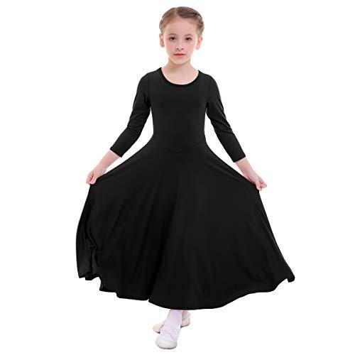 IWEMEK Girls Liturgical Praise Dress Church Loose Fit Full Length Long Sleeve Dance Dress Worship Christian Circle Costume Dancewear Praisewear Black 5-6 Years