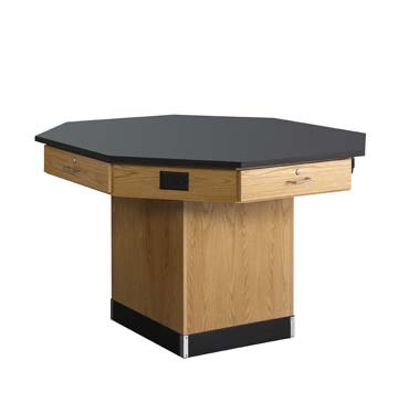 """Diversified Woodcrafts 1614KF Solid Oak Wood Octagon Workstation with Pedestal Base and 4 Locking Drawers, Flat Phenolic Resin Top, 62"""" Width x 36"""" Height x 62"""" Depth"""
