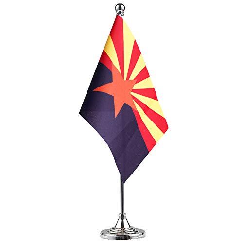 GentleGirl.USA Arizona State Flag Arizona AZ Flag, Small Mini Arizonas State Flag Desk Flag Stick Office Table Flag on Stand Base,Festival Events Celebration,Home Decoration ()