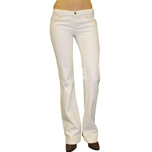 lovely CUSTO BARCELONA Women&39s Tiplex White Denim Bootcut Jeans