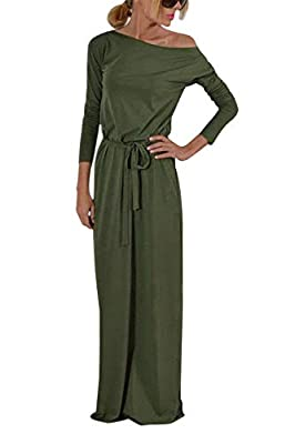 Yidarton Women's Casual Long Sleeve Solid Party Summer Long Maxi Dress