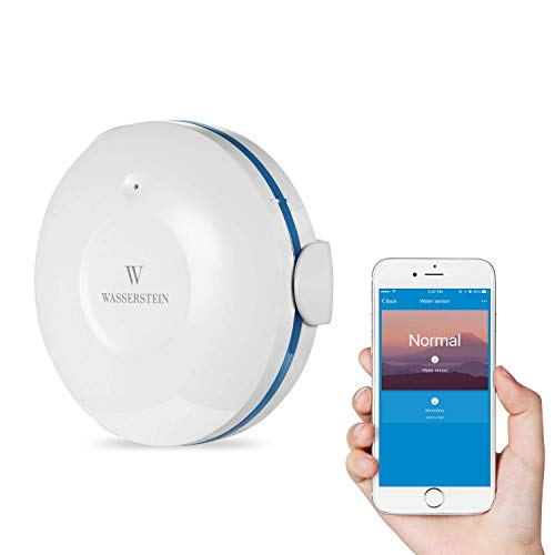 Smart Wi-Fi Water Sensor, Flood and Leak Detector - Alarm and App Notification Alerts, No Expensive Hub Required, Simple Plug & Play by Wasserstein (1 Pack)