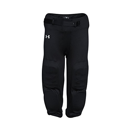 Under Armour Boys' Integrated Football Pants, Black (001)/White, Youth X-Large