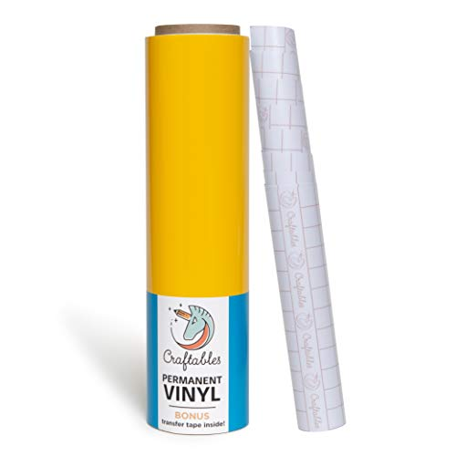 (Craftables Yellow Vinyl Roll - Permanent, Adhesive, Glossy & Waterproof | 12