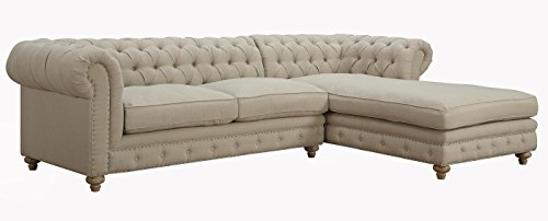 TOV Furniture The Oxford Collection Modern Fabric Upholstered Sectional Furniture Sofa Couch With Right Arm Chaise For Living Room, Beige