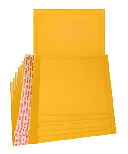 25 Pack Kraft Padded envelopes 7.25 x 7 Bubble Mailers 7.25x7 Yellow Bubble envelopes Peel and Seal. Golden Cushion envelopes for Shipping, mailing, Packing. CD DVD Size envelopes in Bulk, Wholesale. (Priority Mail Express Flat Rate Envelope Cost)