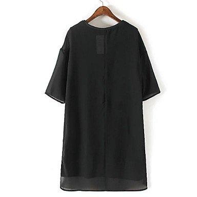 PU&PU Robe Aux femmes Ample Street Chic,Imprimé Col Arrondi Au dessus du genou Polyester , black , s