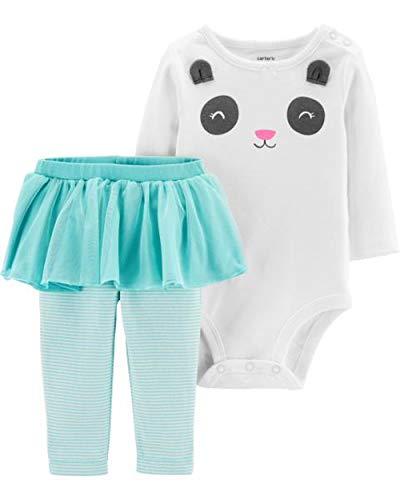 Carter's Baby Girls' 2-Piece Bodysuit and Tutu Pant Set (Turquoise/Ivory Panda, 9 Months)