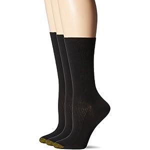 Gold Toe Women's Non-Binding Extended Size Rib Crew Sock, Black, 10-12 (Pack of 3)