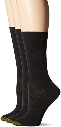 Gold Toe Womens Non-Binding Extended Size Rib Crew Sock 3-Pack