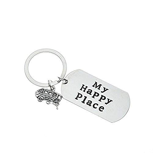 Happy Camper Keychain, My Happy Place Key Chain, Camper Jewelry Gift for Men and Women
