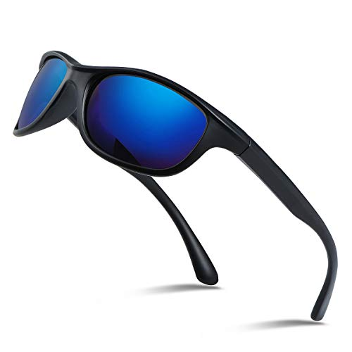 Occffy Polarized Sports Sunglasses For Men Cycling Running Fishing Golf Oc597 (black matte frame with blue lens)