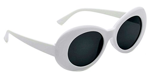 WebDeals - Oval Round Retro Oval Sunglasses Color Tint or Smoke Lenses Clout Goggles (#1 White, Smoke) (Sunglasses Oval Women For)