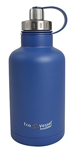 EcoVessel THE BOSS TriMax Insulated Stainless Steel Beer Growler Bottle With Tea And Fruit Infuser - 64 Ounces - Hudson Blue