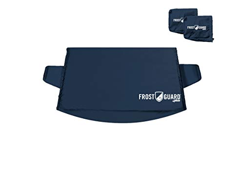 FrostGuard Plus Winter Windshield + Mirror Covers - Weather Resistant - Security Panels and Wiper Blade Cover - Protects from Snow, Ice and Frost (X-Large, Indigo)
