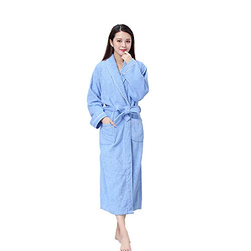Yifen Unisex 100% Cotton Shawl Collar Long Towelling Bathrobe Dressing Gown Housecoat with Two Pockets and Belt (L, Blue)