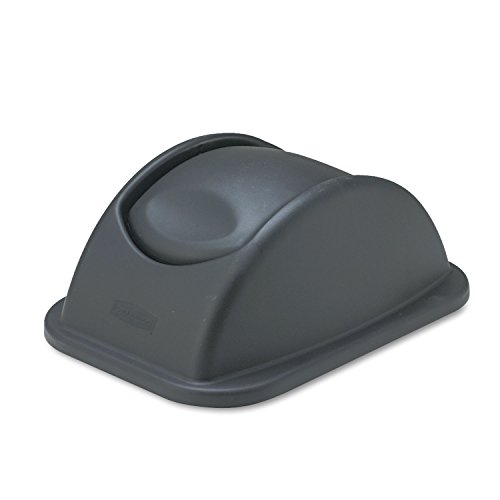 (Rubbermaid Commercial 306600BK Rectangular Free-Swinging Plastic Lids Black)