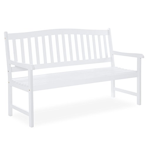 Best Choice Products 60 inches Classic Acacia Wood Outdoor Bench for Patio, Garden, Backyard, Porch - White