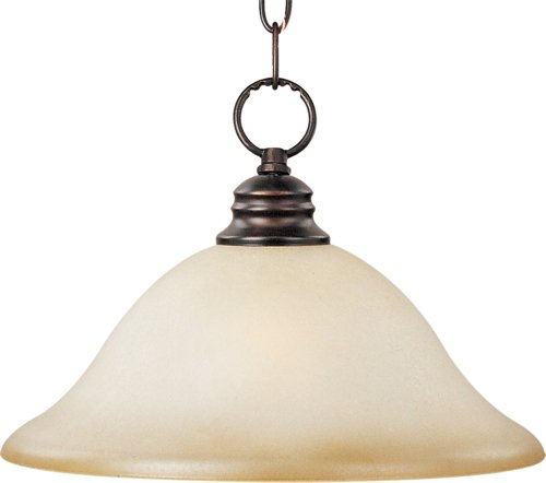 (Maxim 91076WSOI Essentials 1-Light Pendant, Oil Rubbed Bronze Finish, Wilshire Glass, MB Incandescent Incandescent Bulb , 100W Max., Damp Safety Rating, Standard Dimmable, Glass Shade Material, 8050 Rated Lumens)