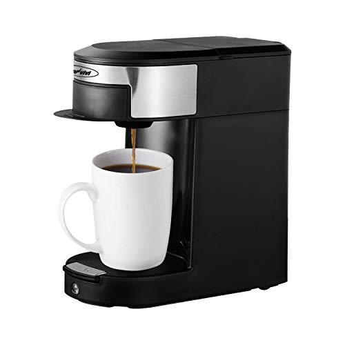 Single Serve Coffee Pod Brewer, 1 Cup Hospitality Coffeemaker, One-touch Control Button with Illumination, Black/Silver