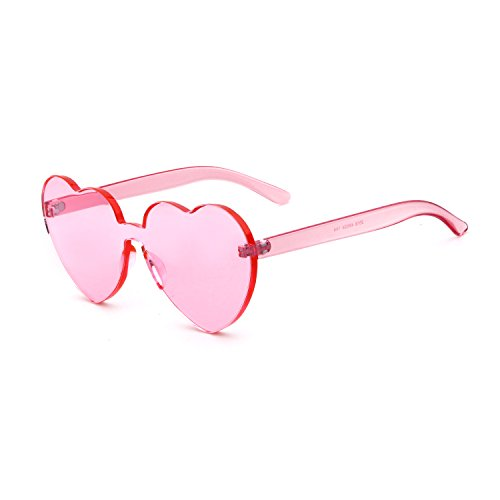Love Heart Shape Sunglasses Women Rimless Frame Colorful - Glasses Colorful