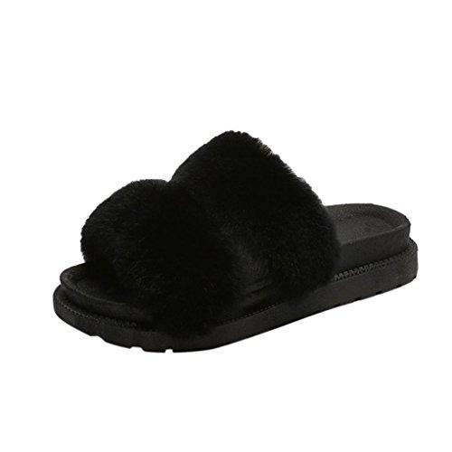 Fuskpäls Toffel, Inkach Kvinnor Öppen Tå Slip På Fluffiga Plysch Platta Sandaler Fuzzy Flip Flops Skor Svarta