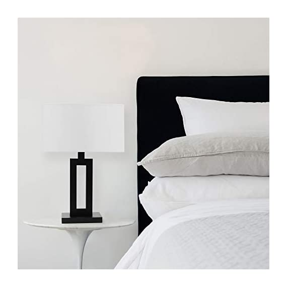 "Globe Electric 67045 D'Alessio Table Lamp, 20"", Matte Black - MODERN DESIGN: a trendy cutout body and rectangular linen shade offers a modern design that will stand the test of time WHITE LINEN SHADE: offering a bright but diffused light, a white linen shade brings a classic element to any space while allowing you to give your lamp and room a warmer or colder look depending on the bulb color temperature you choose PERFECT HEIGHT: a 20-inch height is perfect for a side table, bedside table or entryway table - lamps, bedroom-decor, bedroom - 31cNX3LTx0L. SS570  -"