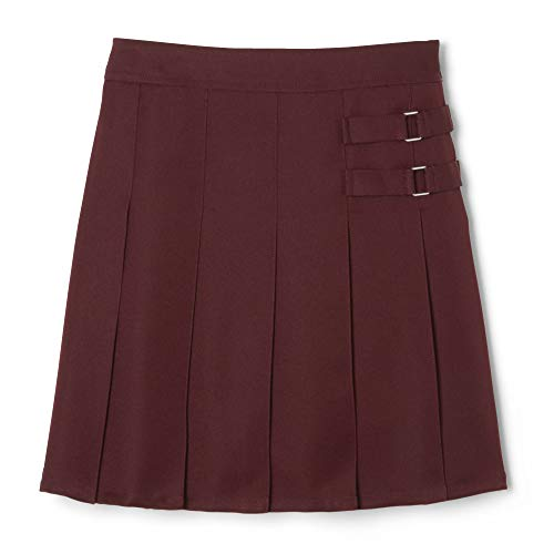 French Toast  Girls' Two-Tab Pleated Scooter skirt, Burgundy, 7,Big Girls