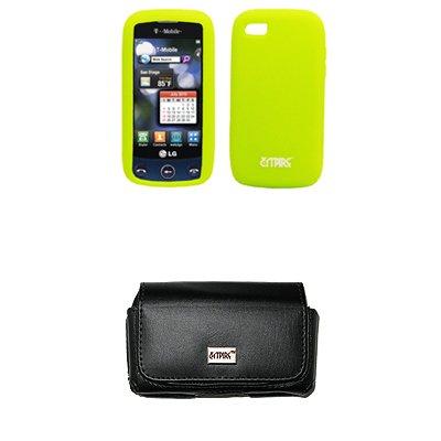 EMPIRE Schwarz Leather Leder Case Tasche Hülle Pouch with Gürtelclip and Gürtelschlaufen + Neon Grün Silicone Skin Cover Case Tasche Hülle for T-Mobile LG Sentio GS505
