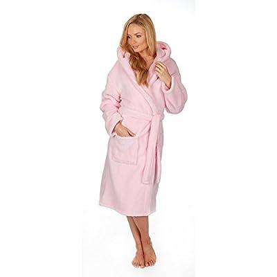 Forever Dreaming Women's Plus Size Flannel Fleece Plush Hooded Bathrobe