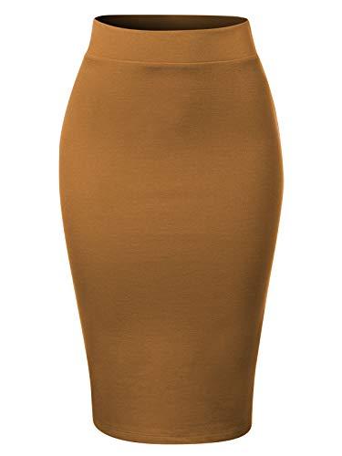 MixMatchy Women's Waist Band Midi Stretchy Ponte Basic Knee Pencil Skirt Coffee M