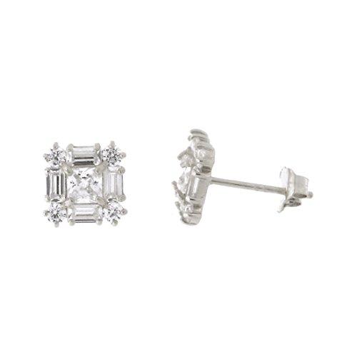14k White Gold Princess Cut Cubic Zirconia Baguette Halo Fancy Square Stud Earrings, 7mm ()