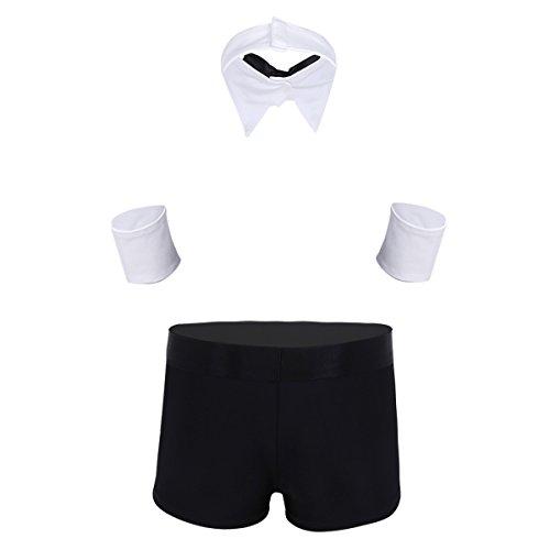 be855529199 Freebily Men s 3pcs Butler Lingerie Set Tuxedo Thong Briefs with Collar and  Handcuffs  2 Black