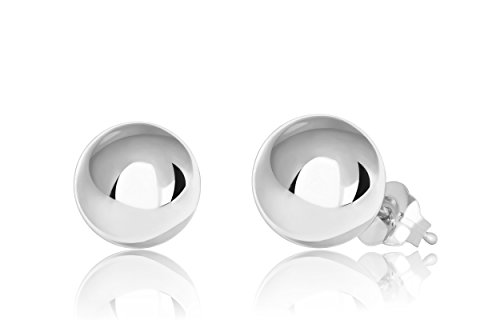 14K White Gold Ball Stud Earrings (7mm - White ()