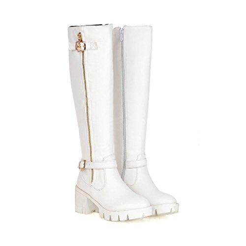MS sencillez cinturón hebilla botas de largo blanco