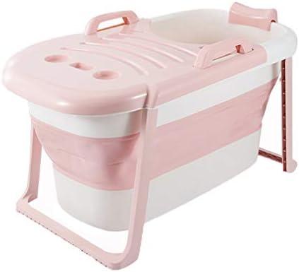 浴場大折り畳み式のバスタブアダルト浴槽ポータブルプラスチック浴槽 (Color : Pink)