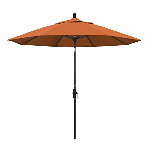California Umbrella 9' Round Aluminum Market Umbrella, Crank Lift, Collar Tilt, Bronze Pole, Pacifica Tuscan