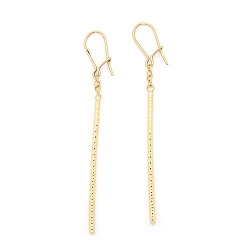 Diamond Vertical Bar Earrings (14k Yellow Gold 2.5
