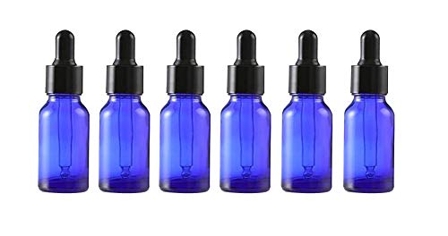 6Pcs Empty Refillable Blue Glass Essential Oil Dropper Bottles Makeup Cosmetic Sample Container Vial Pots With Glass Eye Dropper and Black Cap(15ml/0.5oz) ()