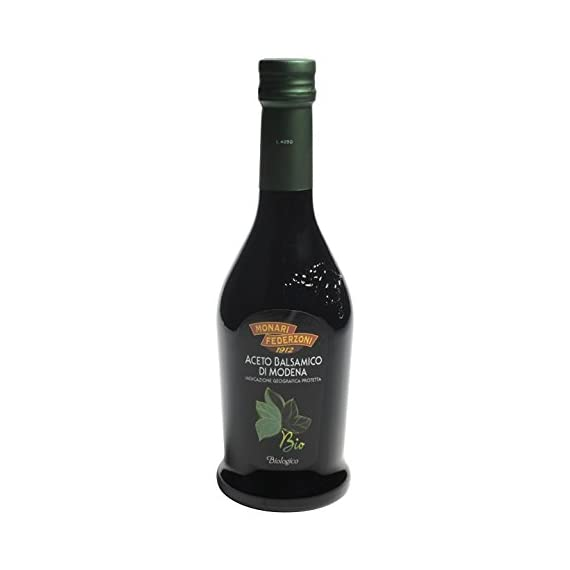 """Monari Federzoni: """"Aceto Balsamico di Modena IGP BIO"""" Balsamic Vinegar from Modena Organic 17 Fluid Ounces Glass Bottle [ Italian Import ] 1 Balsamic Vinegar from Modena, PGI (Protected Geographical Indication) Great to enhance the flavor of vegetables, meat or fish Delicious on fresh fruit and ice cream, or for everyday dressing"""