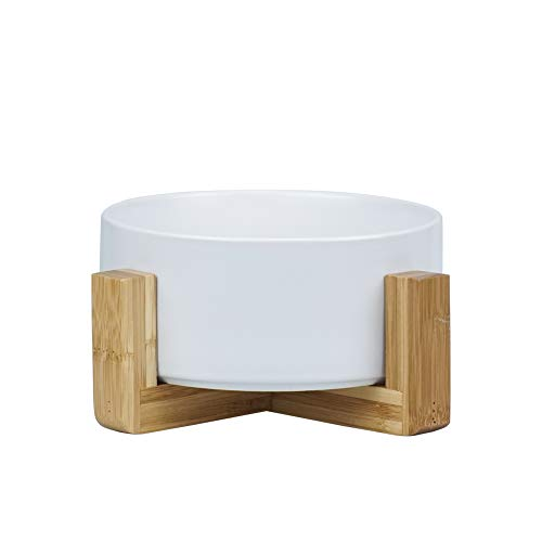 LIONWEI LIONWELI White Ceramic Cat Bowl with Wood Stand No Spill Pet Food Water Feeder Cats Small Dogs
