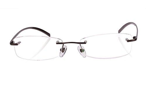 Agstum Pure Titanium Rimless Glasses Prescription Eyeglasses Rx (Gray, 53) by Agstum (Image #1)