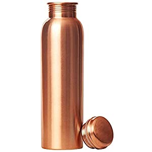 COPPER Kitchenware Plain Copper Bottle No Joint and Leak Proof Ayurvedic Health Benefits Copper Water Bottle for Yoga…