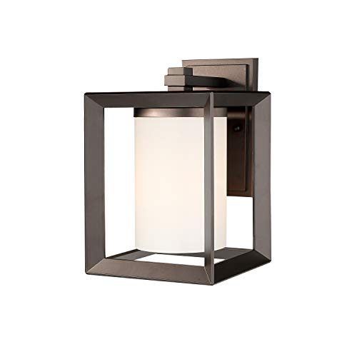- Emliviar Indoor Outdoor Wall Sconce Light Fixture, Oil Rubbed Bronze Finish with White Frosted Glass Shade, 2083B ORB