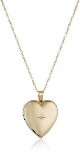 14k Gold-Filled Polished Heart Pendant with Genuine Diamond Locket Necklace, 18