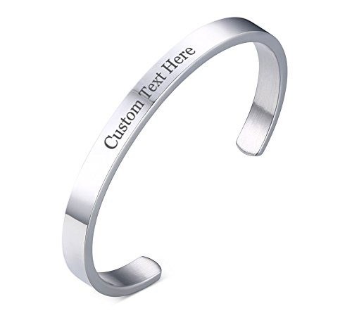6MM Engravable Customized Name Date Mantra Stainless Steel Cuff Bangle Bracelet for Women Men Girls Boys