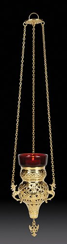 Sudbury Hanging Votive Holder with Ruby Glass, Brass