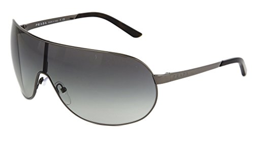 PRADA Wrap Aviator PR60NS Gunmetal Black Mirrored Metal Sunglasses - Prada Sunglasses Wrap