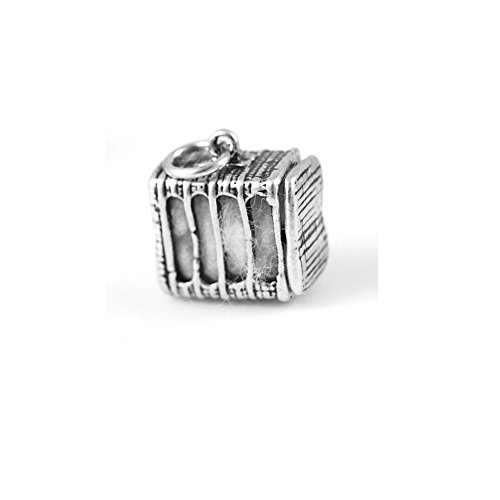 0.625' Sterling Silver Charm - Sterling Silver 3D Unusual Moveable Cotton Bale Charm Item #312