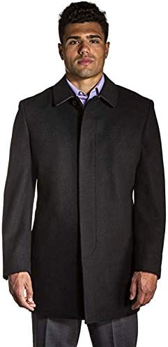 StoutMensShop Big and Tall Black Luxury Wool Blend Mid Length Overcoat for Casual and Business Wear to Size 60